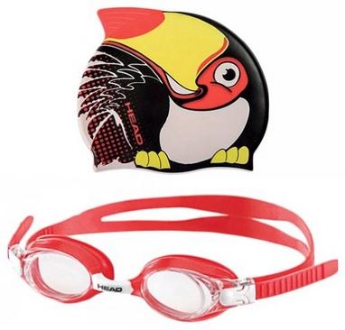 Набор для плавания Head Meteor Character (очки + шапочка) черно-красный