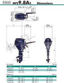 Фото 2 к товару Мотор лодочный четырехтактный Tohatsu MFS9.8A3 S