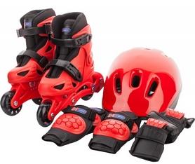 Фото 1 к товару Коньки роликовые + шлем и защита Reaction красный/черный