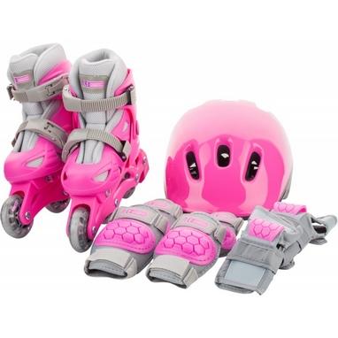 Коньки роликовые + шлем и защита Reaction розовый