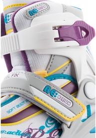 Фото 7 к товару Коньки роликовые раздвижные детские Reaction RN16G-0P белый/фиолетовый