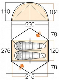 Фото 3 к товару Палатка двухместная Vango Zephyr 200 Terracotta