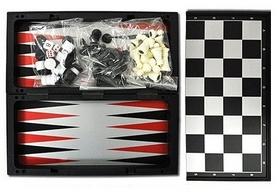 Фото 1 к товару Набор настольных игр 3 в 1 магнитный (шахматы, шашки, нарды) SC56810