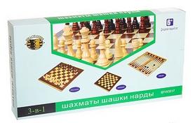 Фото 1 к товару Набор настольных игр 3 в 1 (шахматы, шашки, нарды) W2408