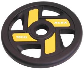 Диск олимпийский полиуретановый 15 кг Alex с хватами цветной - 51мм