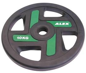 Диск олимпийский полиуретановый 10 кг Alex с хватами цветной - 51мм