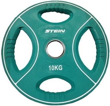 Диск олимпийский полиуретановый 10 кг Stein DB6092-10 с хватами цветной - 51мм