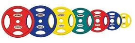 Фото 2 к товару Диск олимпийский полиуретановый 15 кг Stein DB6092-15 с хватами цветной - 51мм
