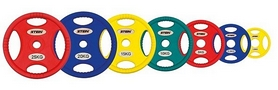 Фото 2 к товару Диск олимпийский полиуретановый 20 кг Stein DB6092-20 с хватами цветной - 51мм