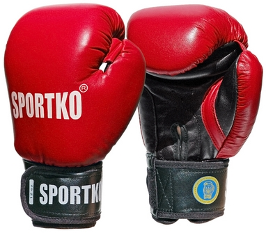 Перчатки боксерские Sportko ФБУ PK-1R красные