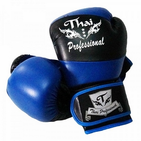 Фото 1 к товару Перчатки боксерские Thai Professional BG7 TPBG7-BK-BL черно-синие