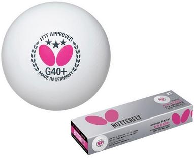 Набор мячей для настольного тенниса Butterfly G40+ Plastic 3* (12 шт, белый)