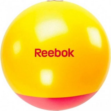 Мяч для фитнеса (фитбол) 65 см Reebok с усиленным дном желтый с красным