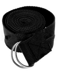 Ремень для йоги Pro Supra (183 см x 3,8 см) черный