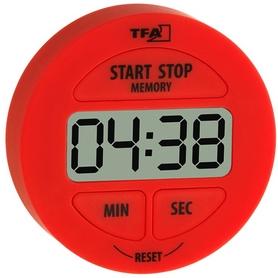 Таймер цифровой TFA 120915 с секундомером красный