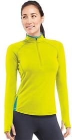 Термофутболка женская Icebreaker Pace LS Half Zip WMN chartreuse/glacier