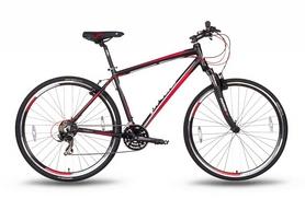 """Велосипед гибридный Pride Cross 1.0 28"""" 2016 черно-красный матовый, рама - 21"""""""
