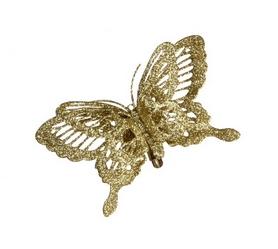 Украшение декоративная клипса Christmas House Золотистая бабочка