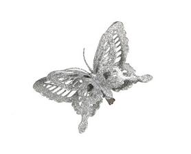 Украшение декоративная клипса Christmas House Серебристая бабочка