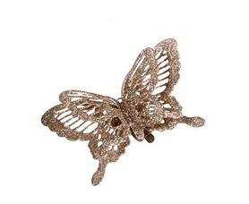 Украшение декоративная клипса Christmas House Шампань бабочка