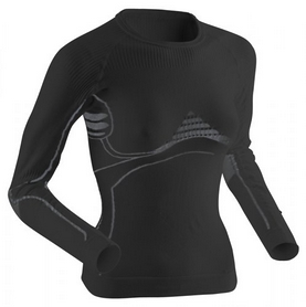 Термофуболка женская X-Bionic Extra Warm Long Sleeves Roundneck black/pearl gray