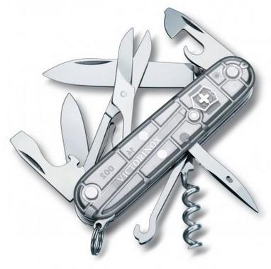 Нож швейцарский Victorinox Climber 91 мм серый/прозрачный
