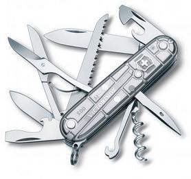 Нож швейцарский Victorinox Huntsman 91 мм серый/прозрачный