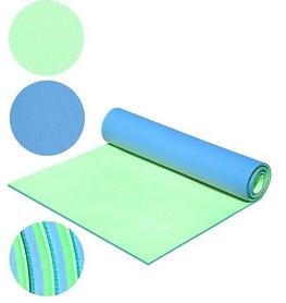 Коврик для фитнеса двухслойный Mega Foam D-2118-grn 8 мм зеленый/голубой