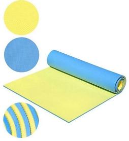 Коврик для фитнеса двухслойный Mega Foam D-2118-yllw 8 мм желтый/голубой