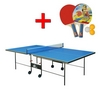 Стол теннисный складной для помещений Gk-3 синий + подарок - фото 1
