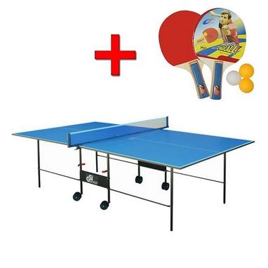 Стол теннисный складной для помещений Gp-2 зеленый + подарок