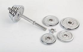 Фото 3 к товару Гантели наборные хромированные 2 шт по 10 кг
