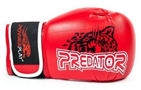 Перчатки боксерские PowerPlay 3009 Predator Leopard красные