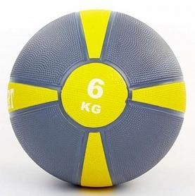 Мяч медицинский (медбол) ZLT FI-5122-6 6 кг серый с желтым