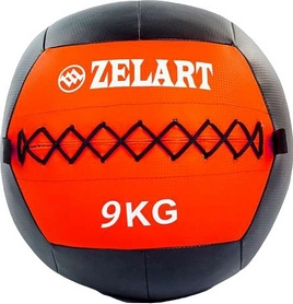 Мяч медицинский (медбол) Pro Supra Wall Ball FI-5168-9 9кг красный