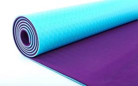 Фото 2 к товару Коврик для йоги (йога-мат) ТРЕ+TC 6 мм фиолетовый