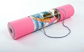 Фото 3 к товару Коврик для йоги (йога-мат) ТРЕ+TC 6 мм розовый