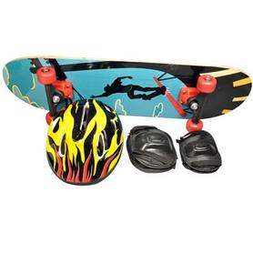 Скейтборд дерево детский с защитой, шлемом и чехлом