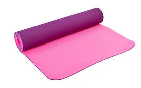 Коврик для йоги (йога-мат) FI-3046-10 ТРЕ+TC 6 мм фиолетовый/розовый