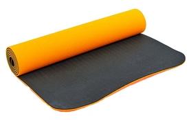 Распродажа*! Коврик для йоги (йога-мат) FI-3046 ТРЕ+TC 6 мм оранжевый/черный