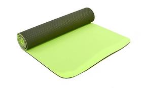 Коврик для йоги (йога-мат) FI-3046 ТРЕ+TC 6 мм салатовый