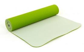 Коврик для йоги (йога-мат) FI-3046 ТРЕ+TC 6 мм зеленый/серый