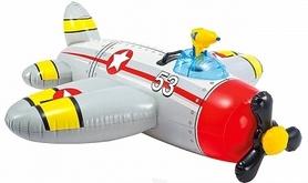 Плотик детский Intex 57537 Самолет (132х130 см) серый