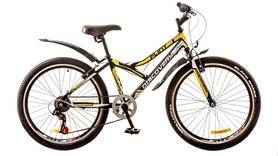 """Велосипед горный подростковый Discovery Flint 14G 24"""" 2017 черный/белый/желтый, рама - 14"""""""