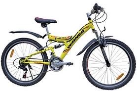 """Велосипед подростковый горный Winner Twister 24"""" желтый, рама - 15"""""""