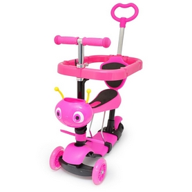 Самокат трехколесный с сиденьем и толкателем Maraton Onex Plus розовый