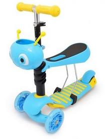 Самокат трехколесный с сиденьем Maraton Onex голубой