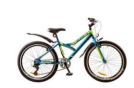 """Велосипед подростковый горный Discovery Flint 14G 24"""" 2017 синий/черный/зеленый, рама - 14"""""""