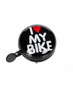 Звонок велосипедный (динг-донг) Green Cycle GCB-1058S I Love My Bike черный