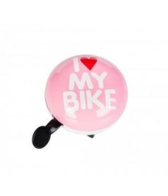 Звонок велосипедный (динг-донг) Green Cycle GCB-1058S I Love My Bike розовый
